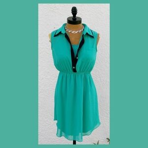 Sweet Storm Shirt Dress  Lined Cami(attached)